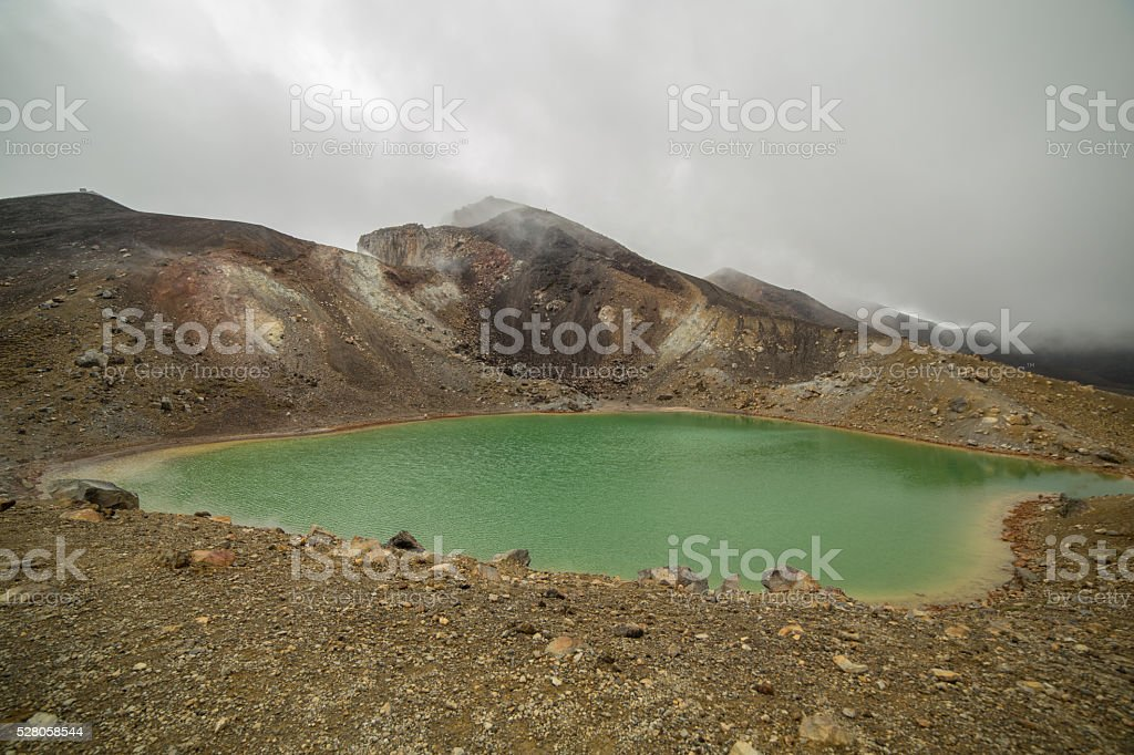 View of one beautiful Emerald lake on Tongariro Crossing track stock photo