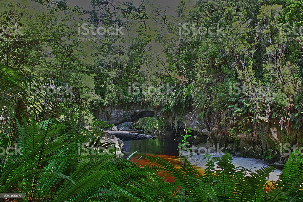 View of Oparara Arch in Rainforest, Kahurangi National Park stock photo