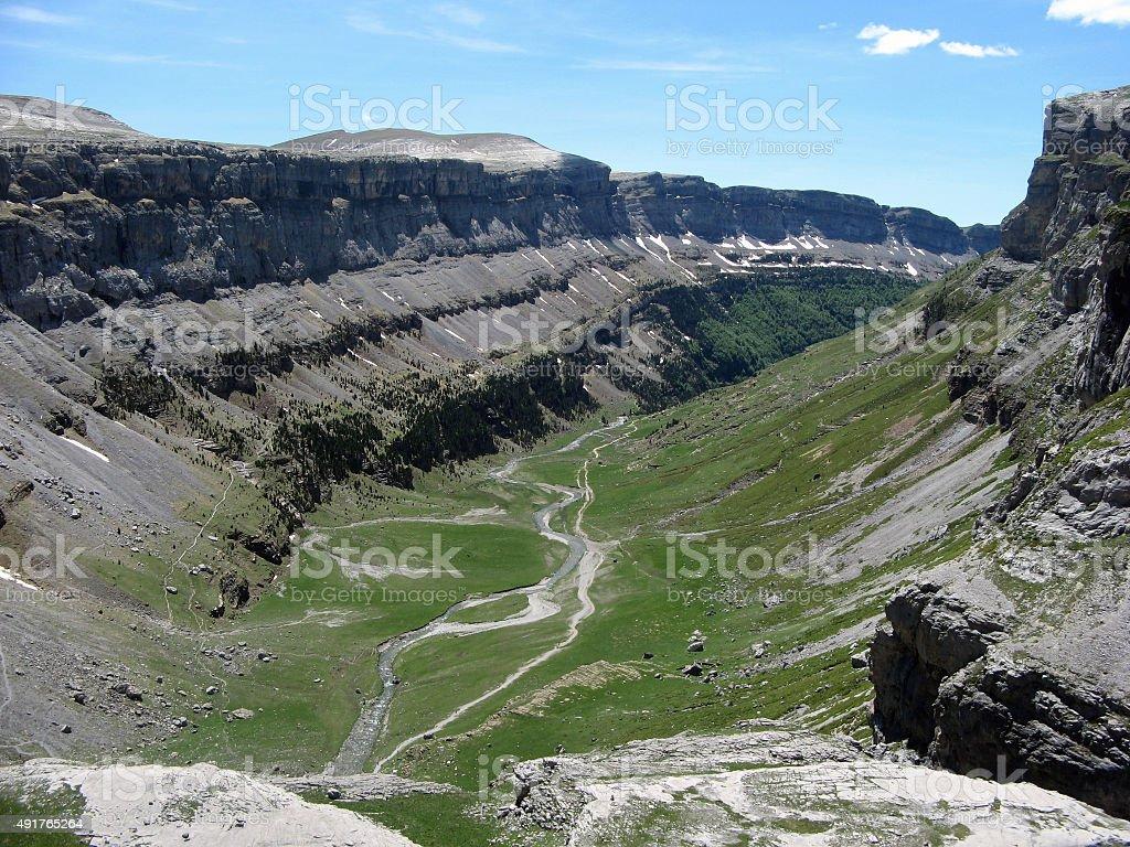 View of Ordesa Natural Park in Huesca (Aragon, Spain) stock photo