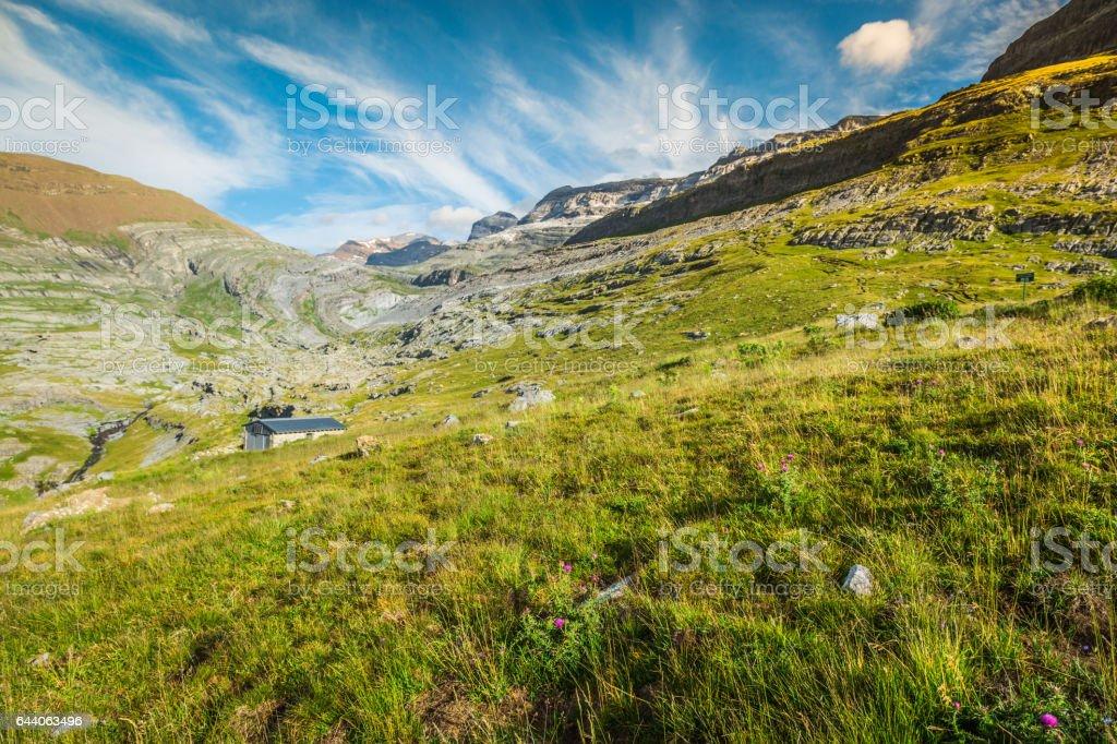 View of Ordesa valley and Monte Perdido massif, Pyrenees, Spain. stock photo