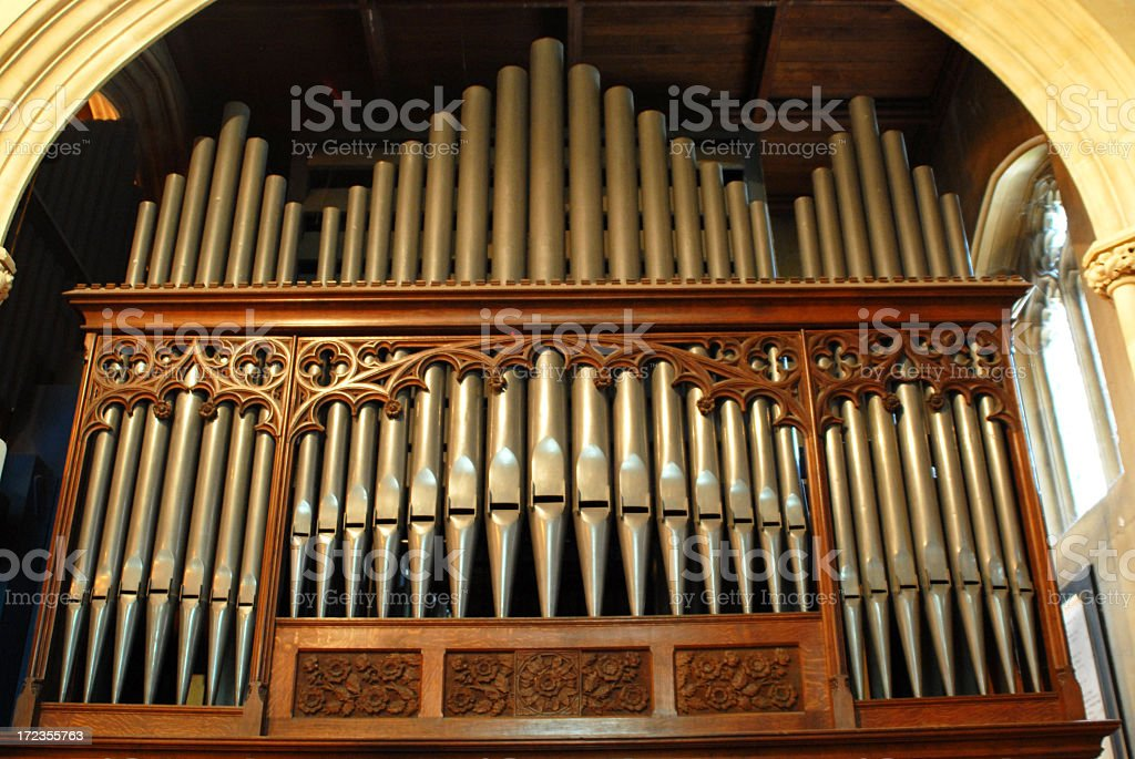 View of organ pipes in a church stock photo