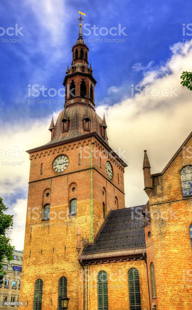 View of Oslo Cathedral stock photo
