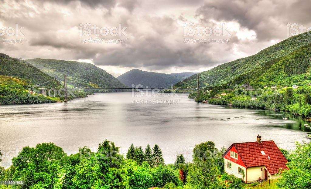 View of Osteroy Bridge in Norway stock photo