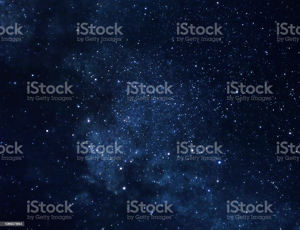 View of outer space with cluster of stars stock photo