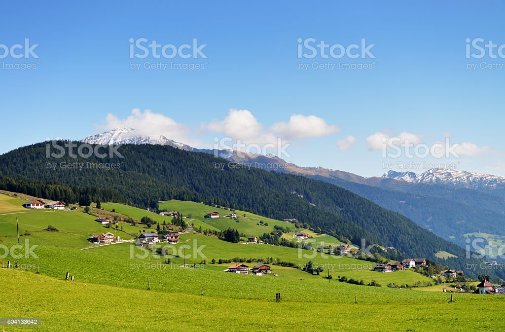 View of over the landscape at Lutago stock photo