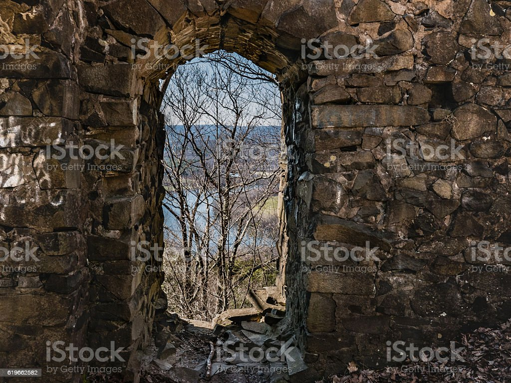View of Oxbow from Eyrie House Ruins stock photo