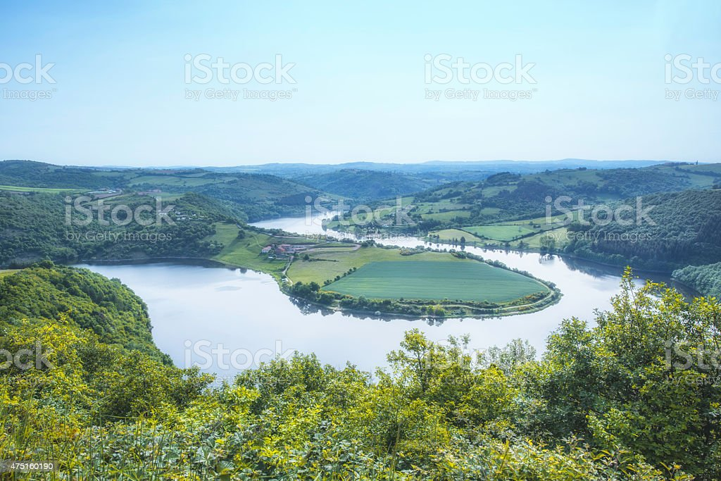 View of oxbow on River Loire stock photo