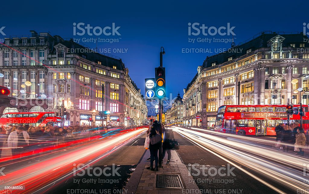 View of Oxford Street on November 10, 2015 in London. stock photo