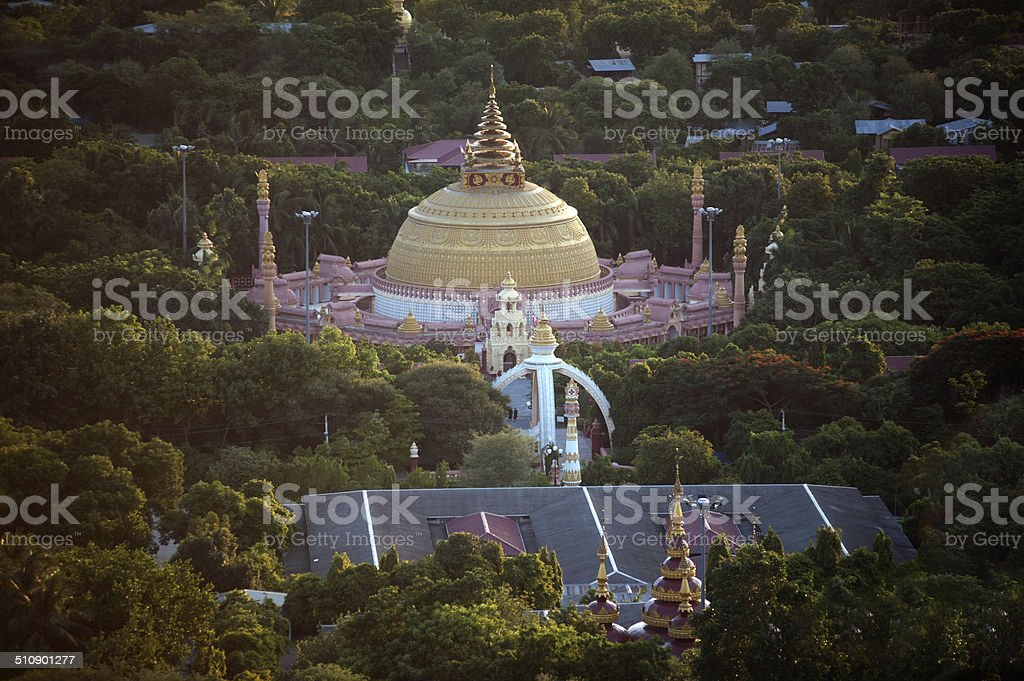 View of Pagoda from Sagaing hill,Myanmar. stock photo