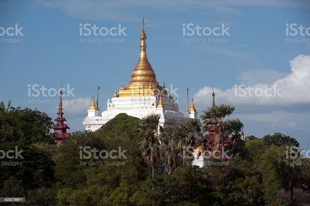 View of Pagoda in Sagaing hill near Ayeyarwady river,Myanmar. stock photo