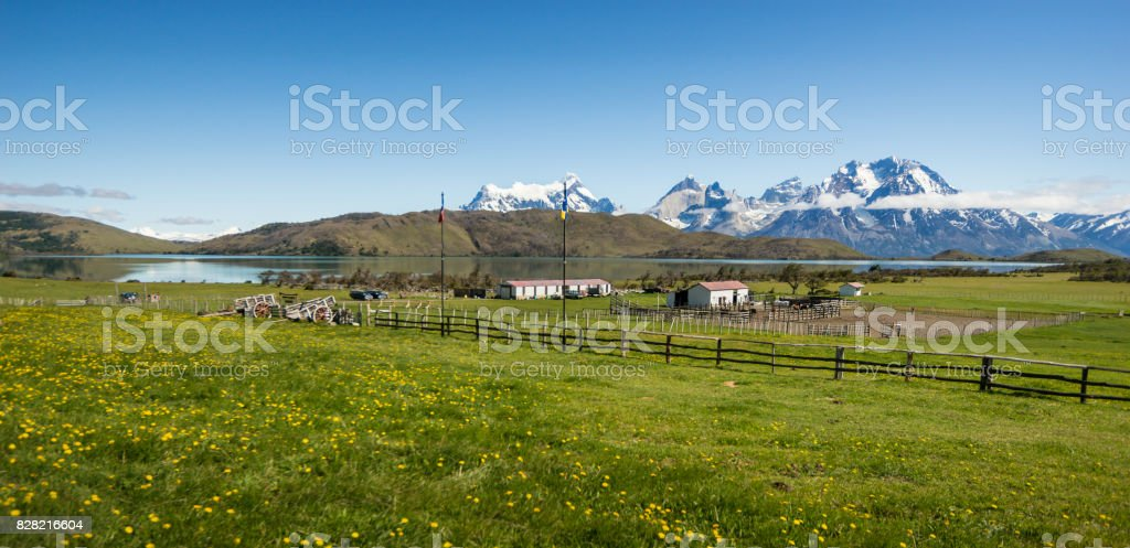 View of Paine Massif Across Lago Verde, Chilean Patagonia, Chile stock photo