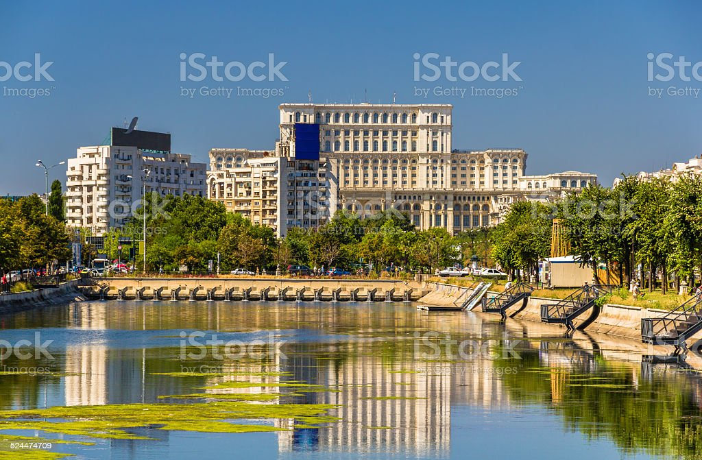 View of Palace of Parliament in Bucharest, Romania stock photo