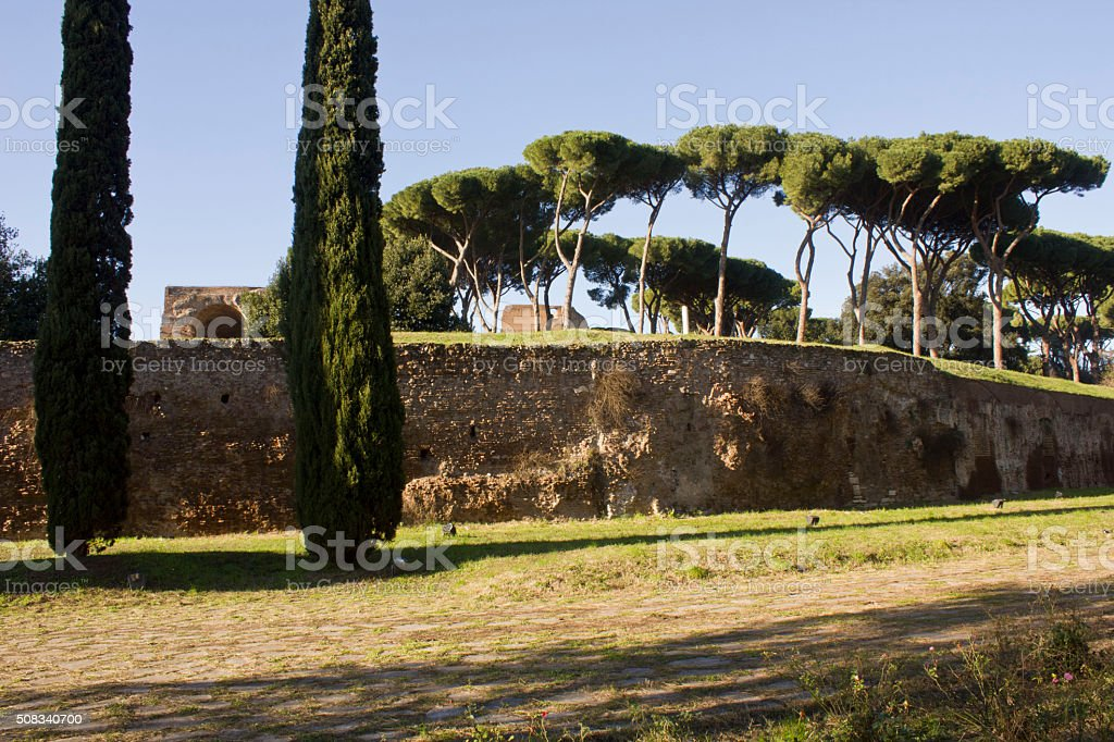 View of Palatine Hill from Via di San Gregorio stock photo