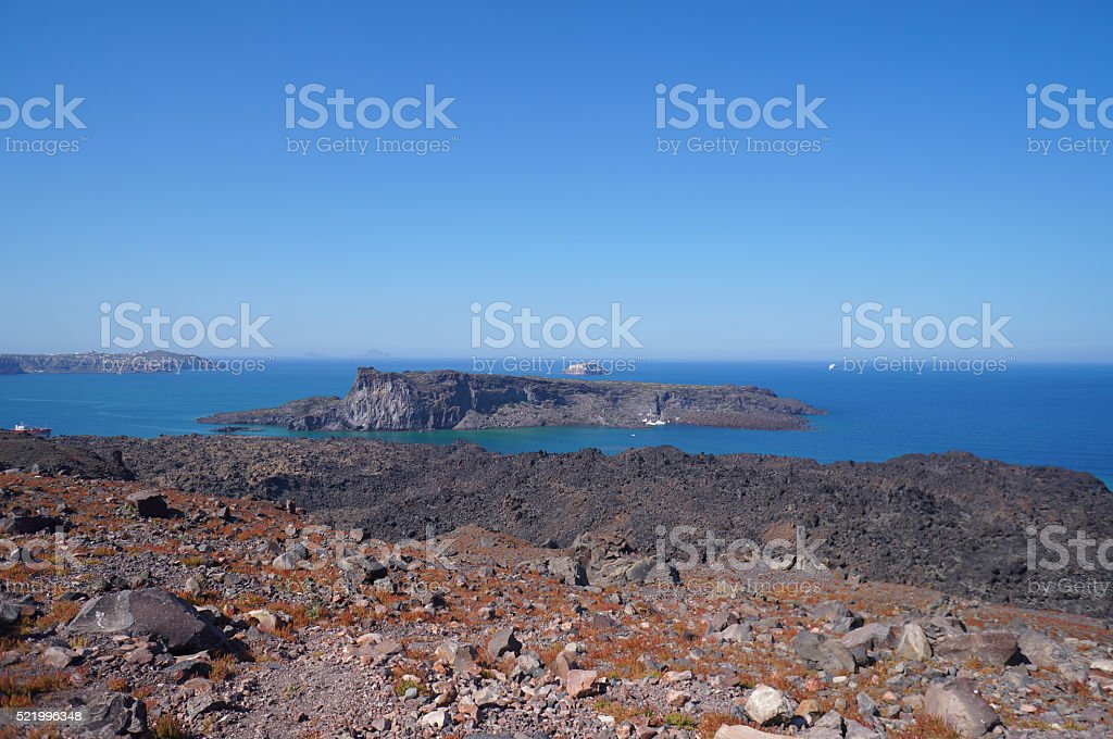 View of Palea Kameni island from Nea Kameni,Greece stock photo