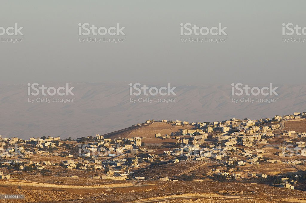 View of Palestinian landscape and homes from Bethlehem, Palestine stock photo