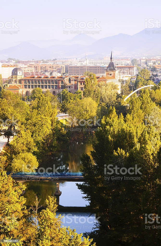View of Pamplona with Arga river royalty-free stock photo