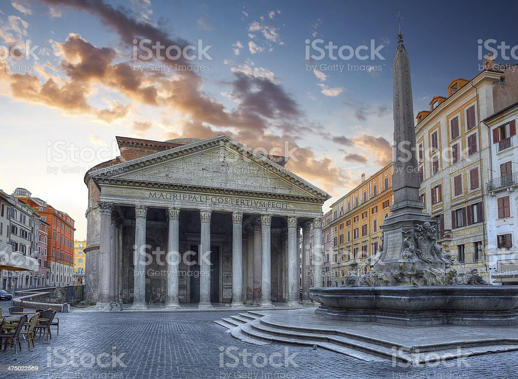 view of Pantheon in the morning. Rome. Italy. stock photo