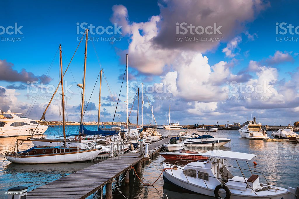 View of Paphos harbour. Cyprus stock photo