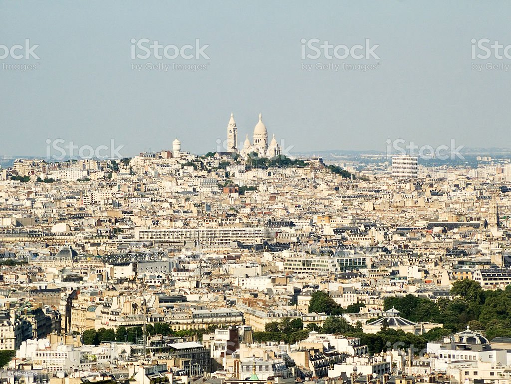 View of Paris and Montmartre. stock photo