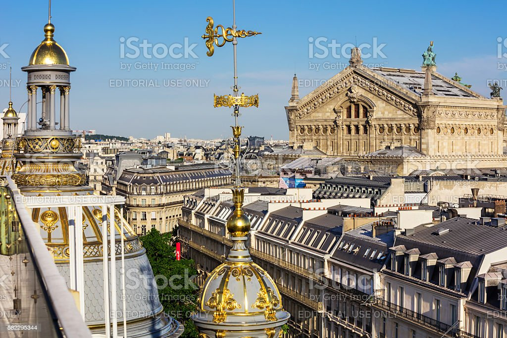 View of Paris from the roof of Printemps Department Store stock photo