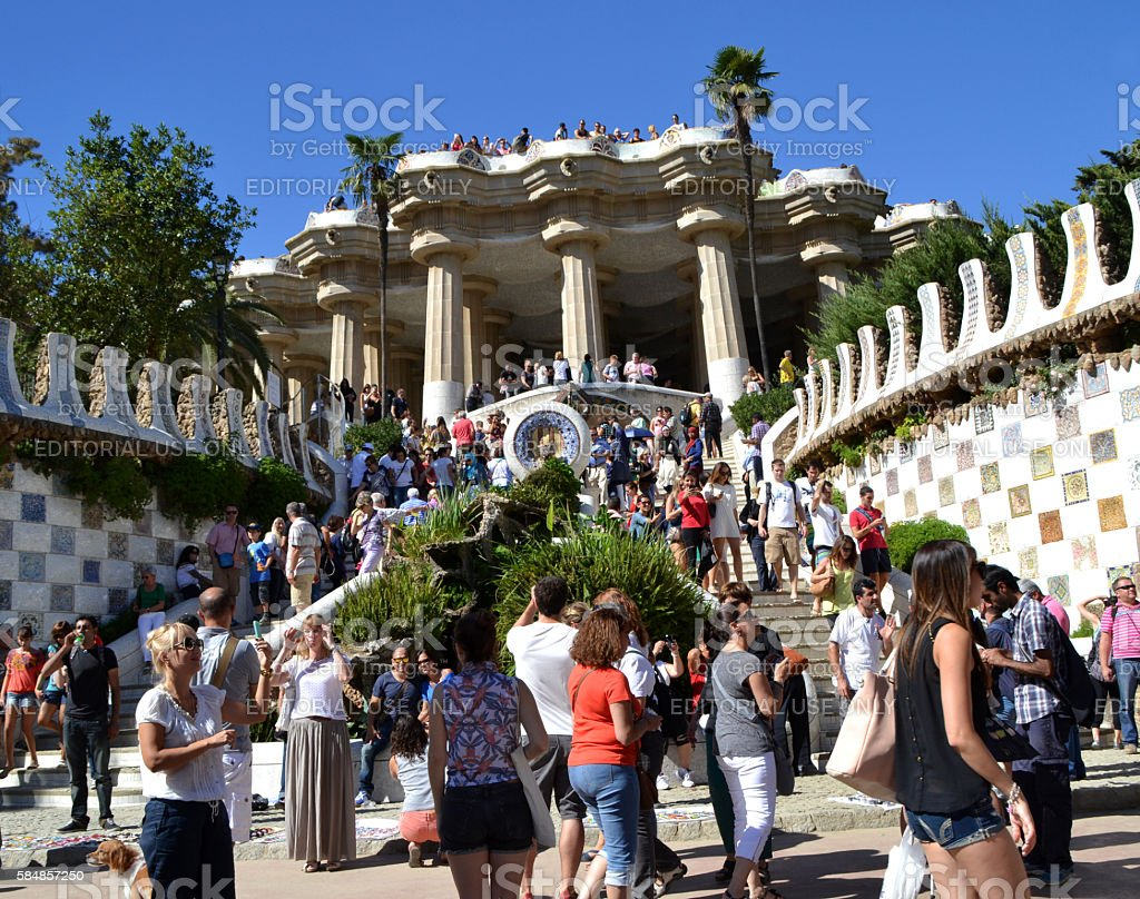 View of Park Guell in Barcelona, Spain stock photo