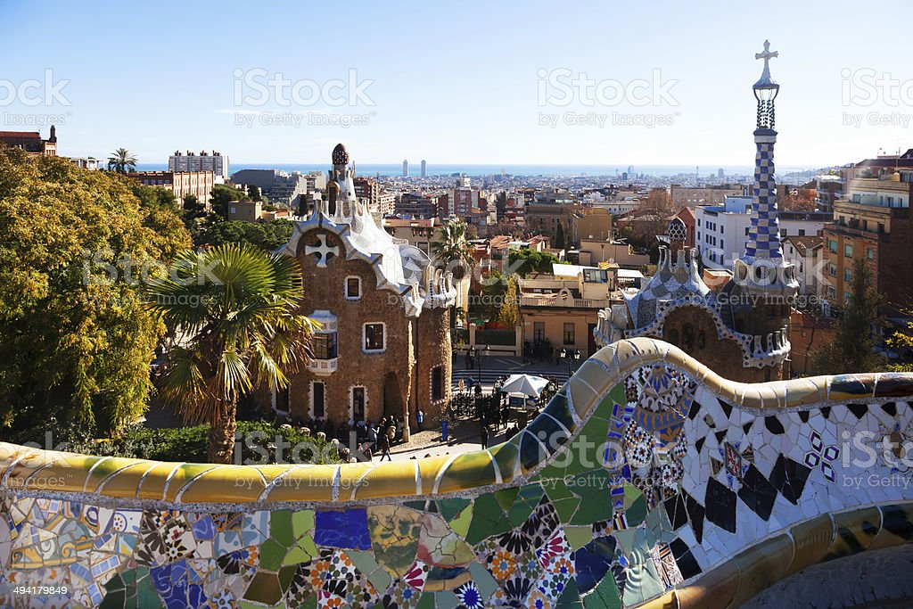 View of Park Guell in winter. Barcelona stock photo