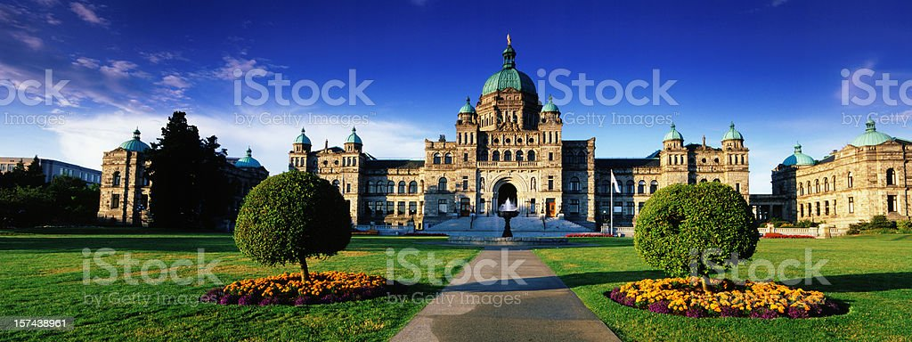 View of parliament buildings in British Columbia stock photo