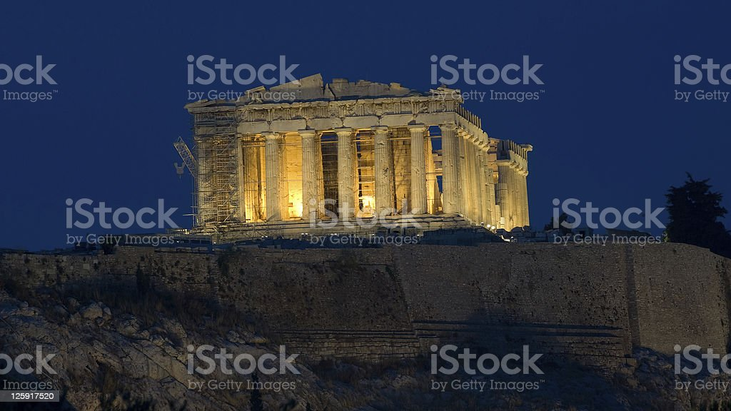 view of Parthenon by night stock photo