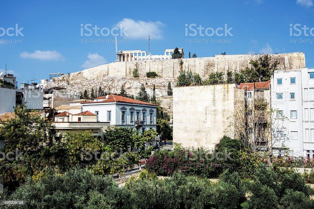 View of Parthenon on Acropolis Hill, Athens, Greece stock photo