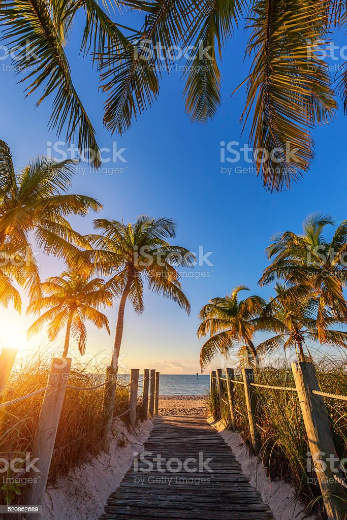 View of passage to the beach at sunrise stock photo
