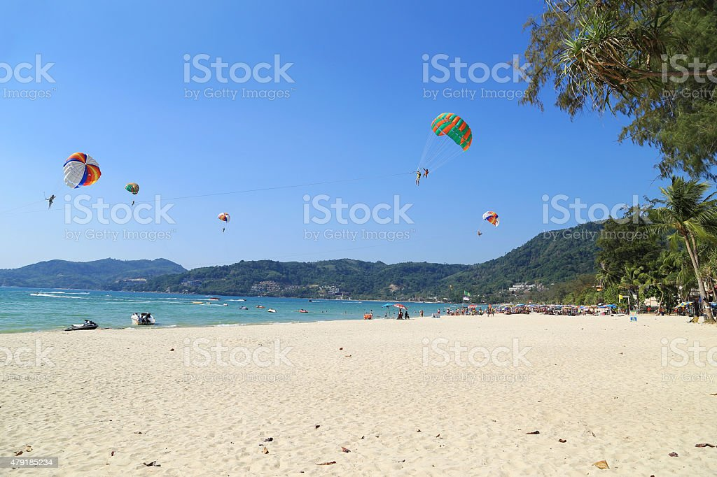 view of Patong Beach with parasailing stock photo