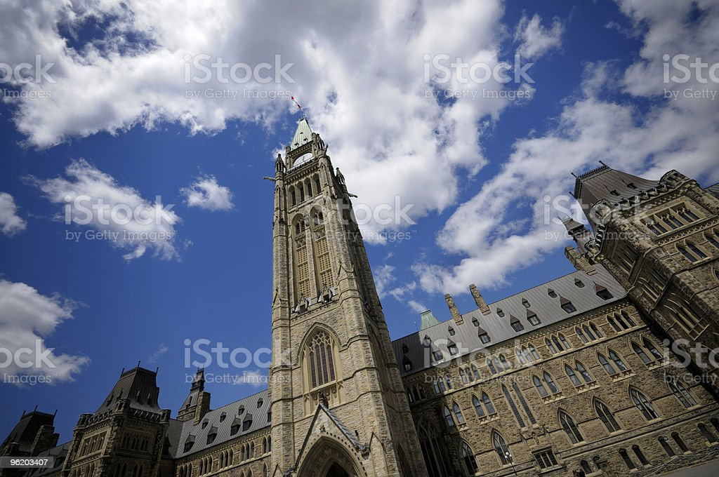 View of Peace Tower looking up to the sky stock photo