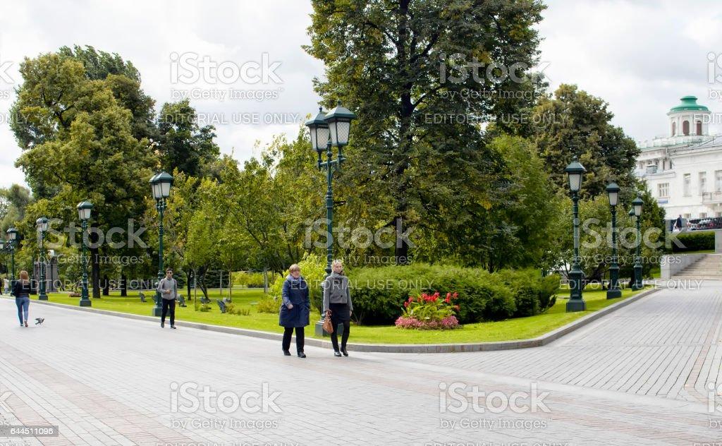 View of people walking in Alexandrovsky Garden stock photo