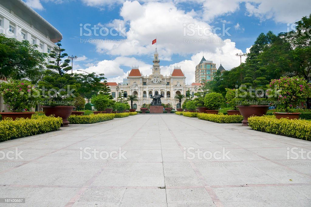 A view of Peoples Committee Building in Vietnam stock photo