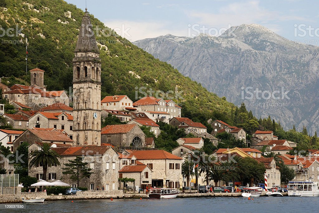 A view of Perast, Montenegro and mountains stock photo