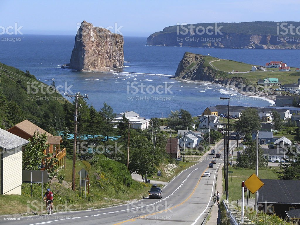 A view of Perce Village from the top of a hill stock photo