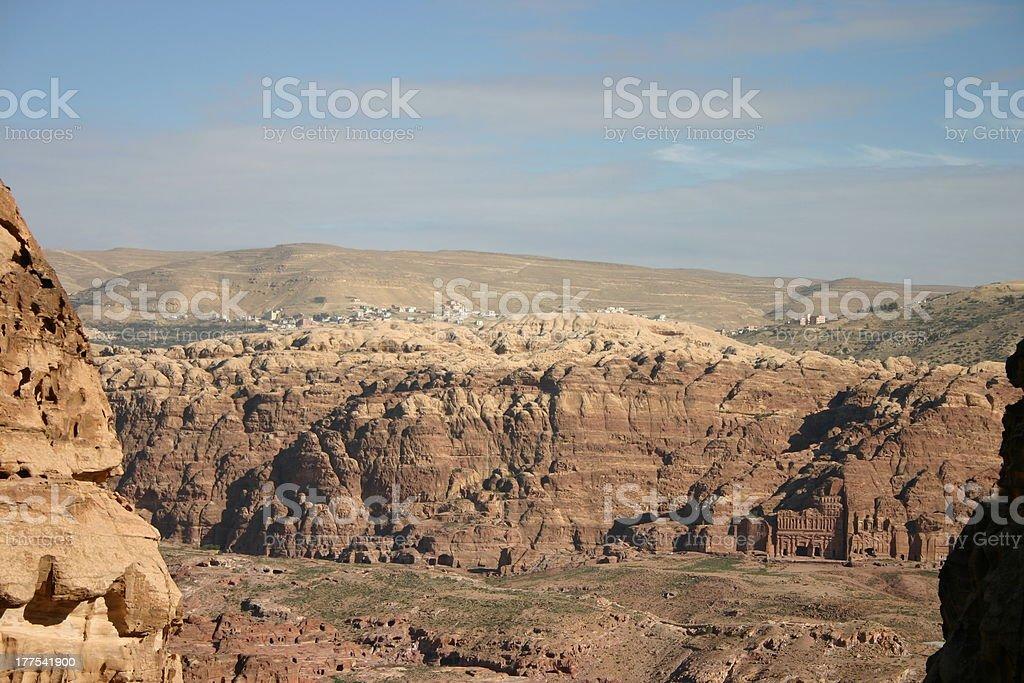 View of Petra, direction Silk Tomb, Palace Corinthian, Jordan royalty-free stock photo
