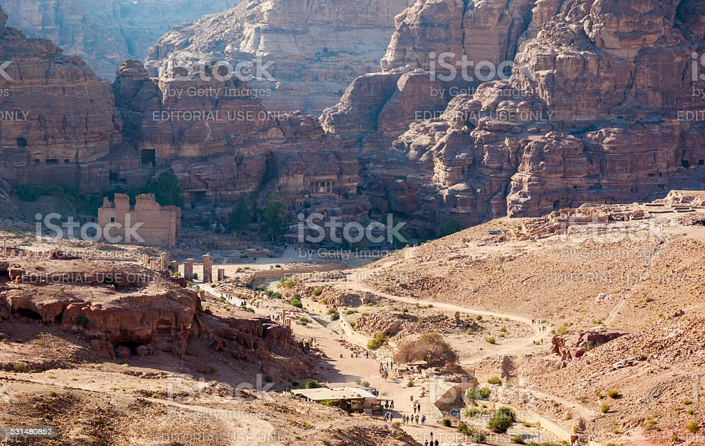 View of Petra Valley from the Urn Tomb. Petra. Jordan. stock photo