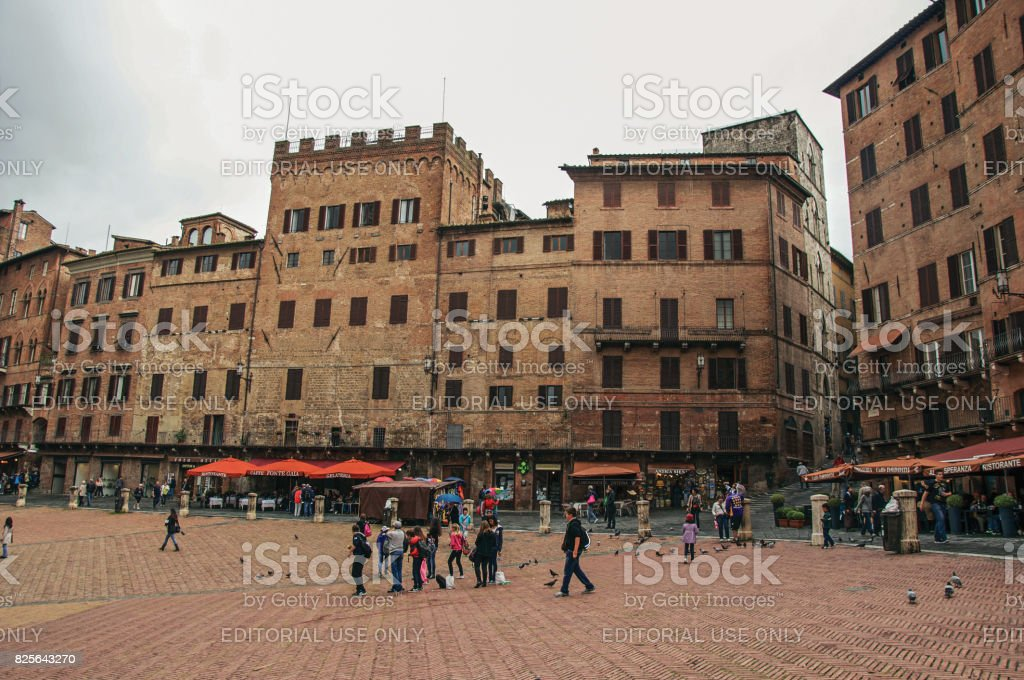 View of 'Piazza del Campo' main square in the city center of Siena stock photo