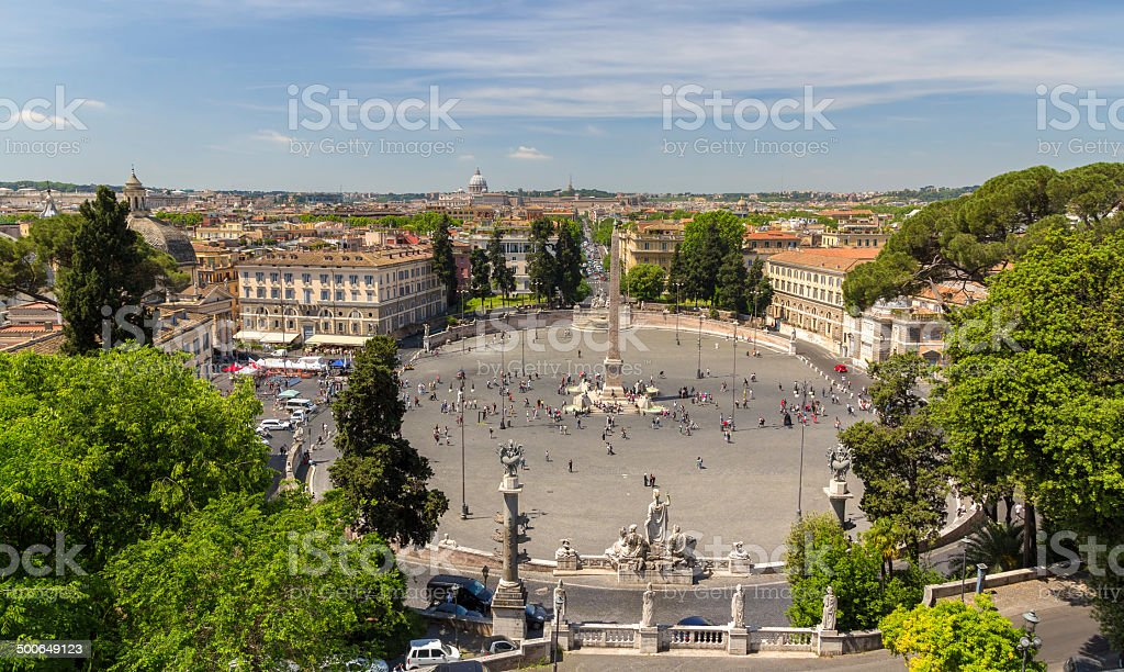 View of Piazza del Popolo in Rome, Italy stock photo