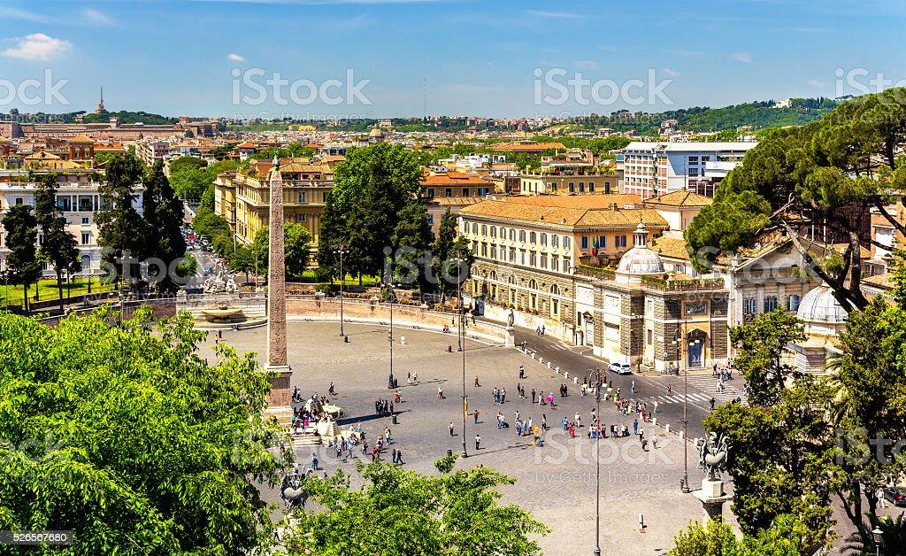 View of Piazza del Popolo in Rome stock photo