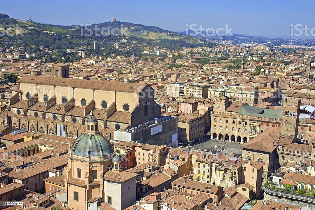 view of piazza maggiore - bologna , italy stock photo