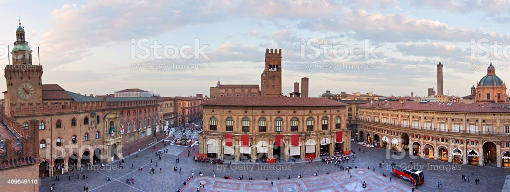 view of piazza maggiore - bologna stock photo
