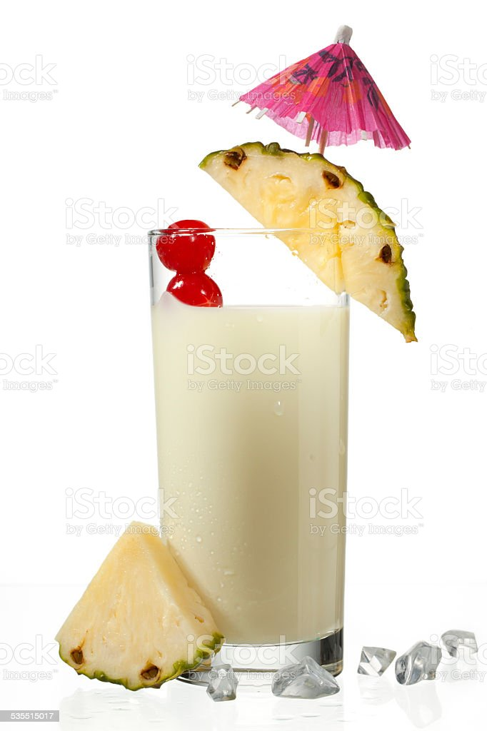 view of pineapple milkshake decorated with slice stock photo