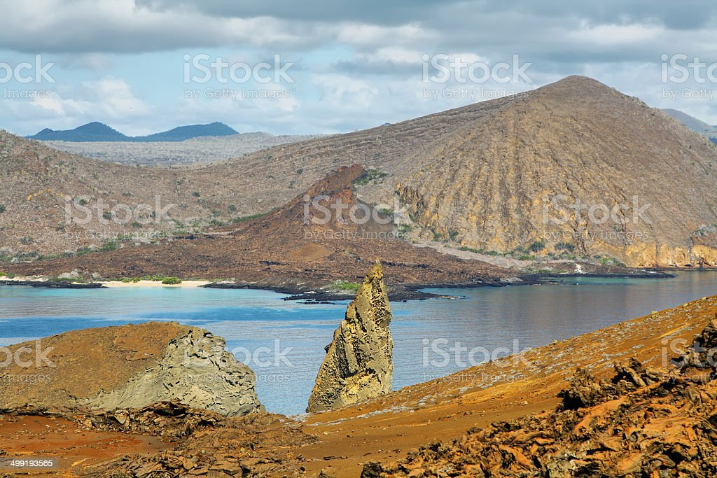 View of pinnacle Rock and surroundings in Bartolome stock photo