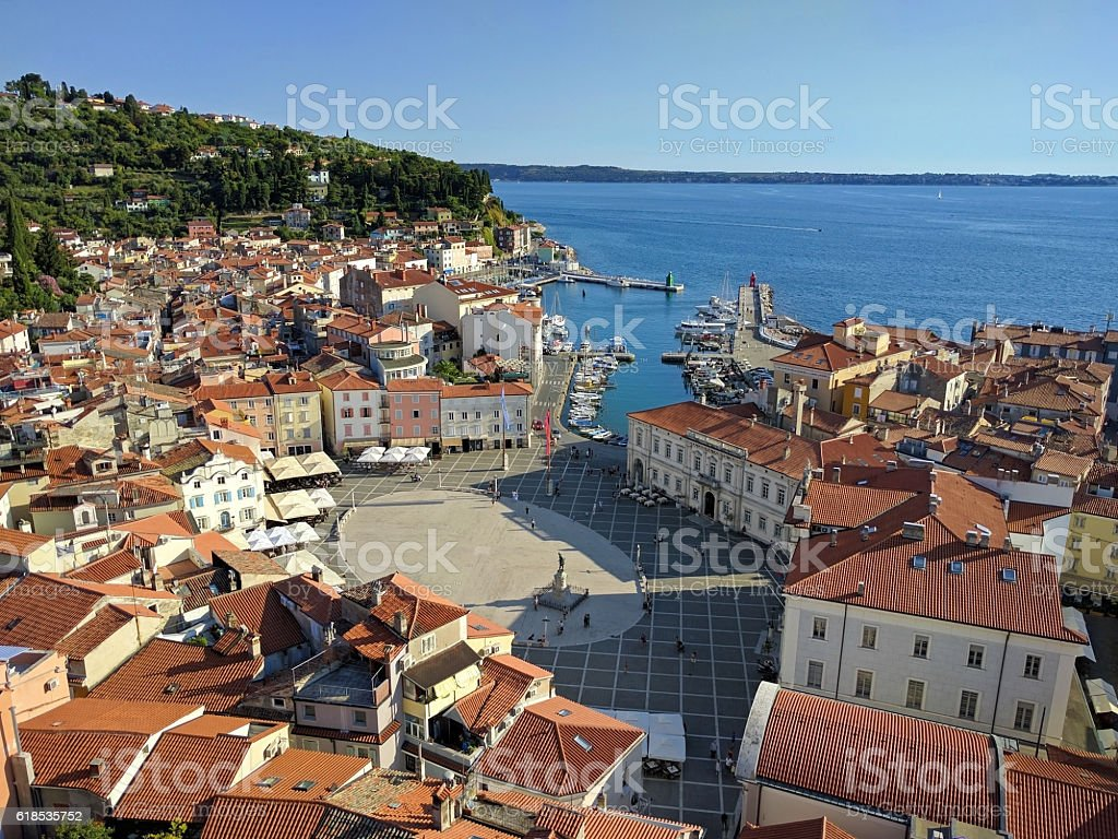 View of Piran port and Tartini Square from above, Slovenia stock photo