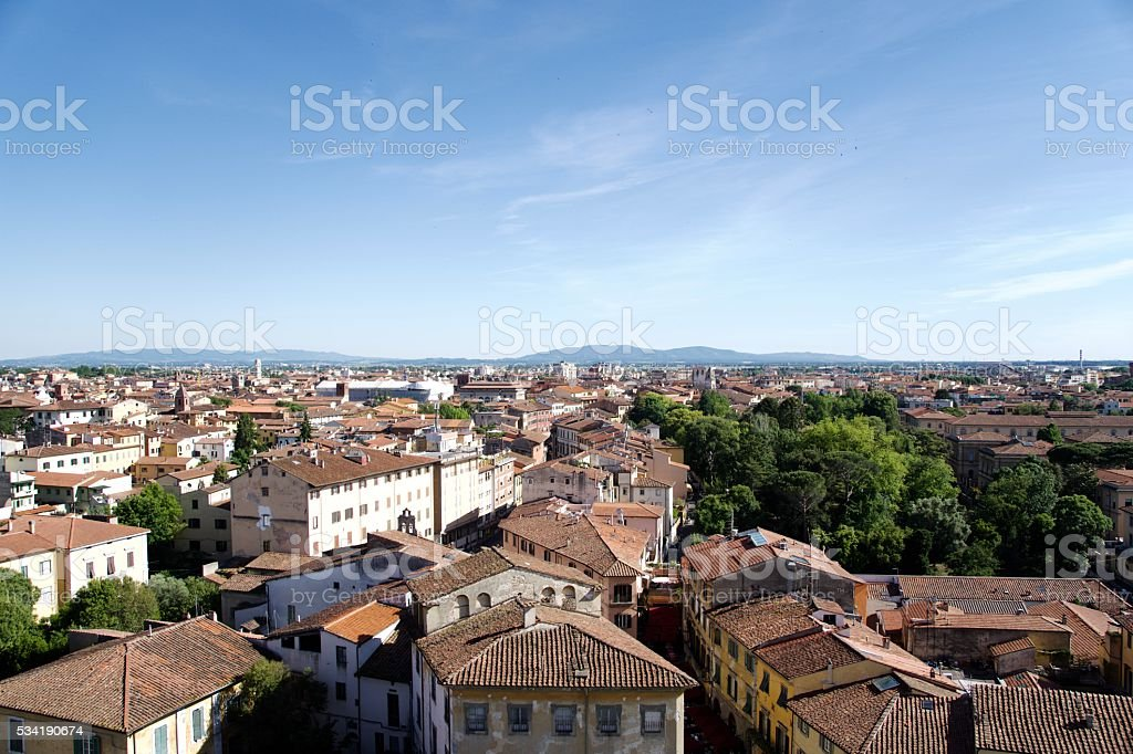 View of Pisa, Italy from the Top of the Leaning Tower of Pisa stock photo