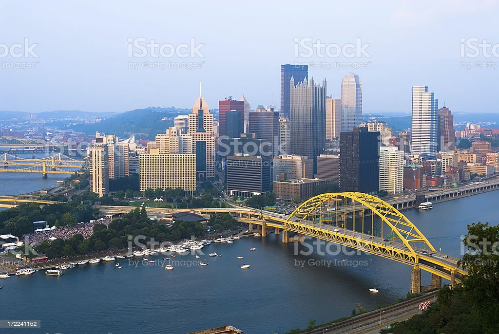 View of Pittsburgh, Pennsylvania skyline during the day stock photo