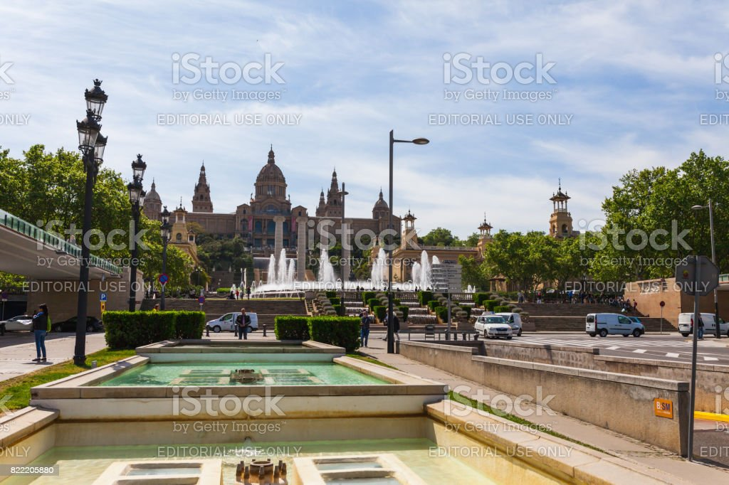 BARCELONA, SPAIN - APRIL 20: View of Placa De Espanya( Square of Spain) in Barcelona, Spain 20 Aplril 2017. Famous tourist destination and business cultural center. Bright sunny day stock photo