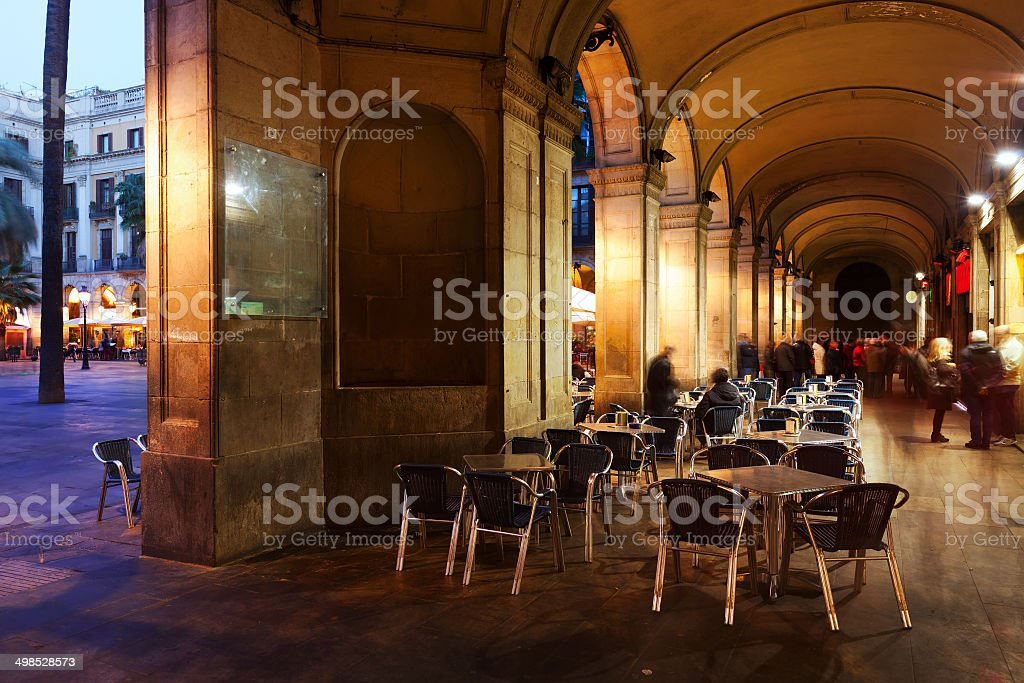 View of Placa Reial in evening. Barcelona stock photo